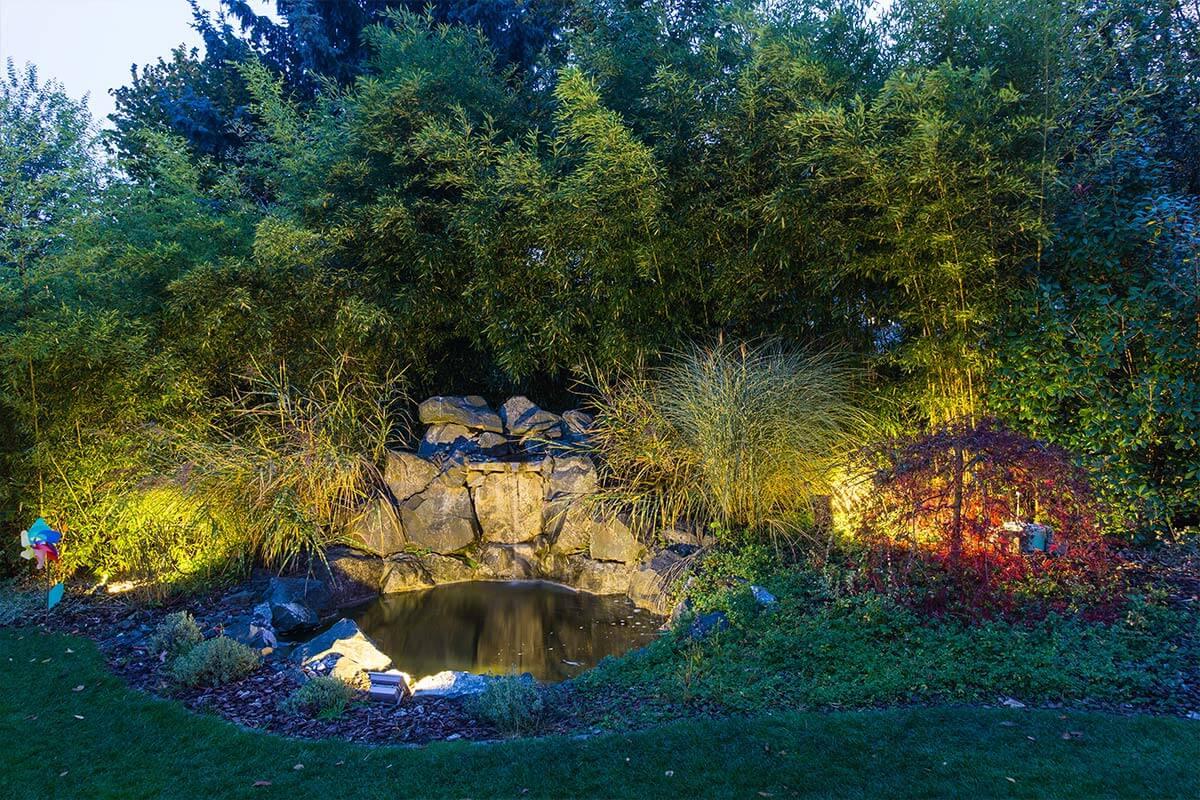 Gartenbeleuchtung am Teich