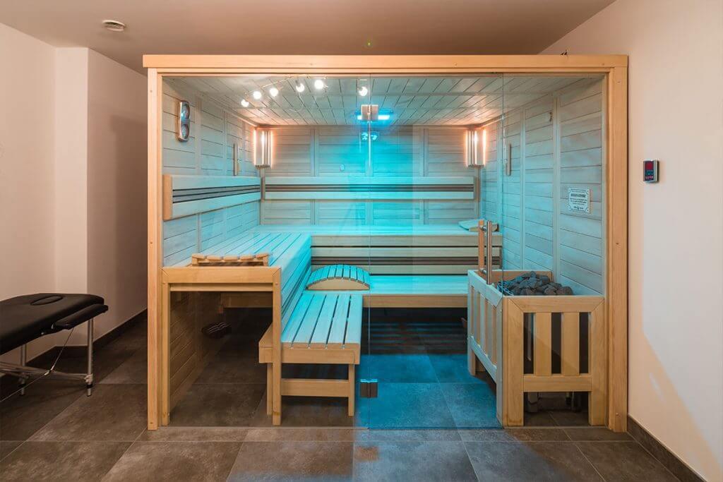 Beleuchtete Sauna