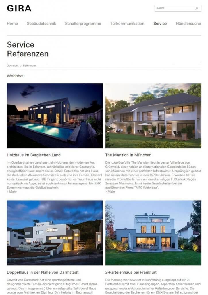 Zwei Referenzen auf Gira.de