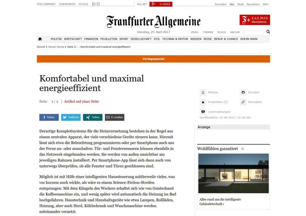 Pressetext: Casaio mit Smart Home Artikel in der Frankfurter Allgemeine