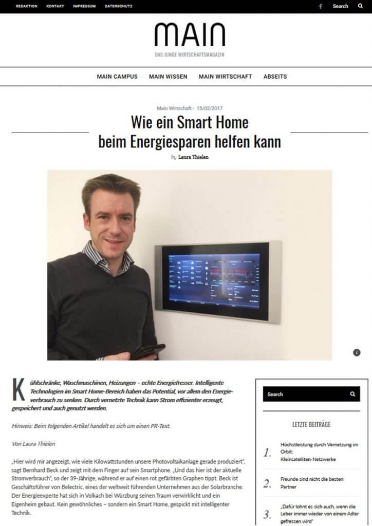 Pressetext: Casaio mit Energie Smart Home auf Main-Magazin.com