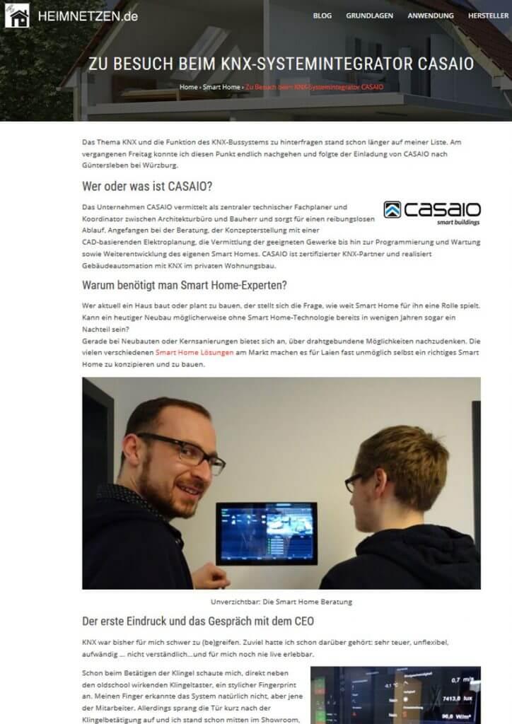 Pressetext Casaio auf heimnetzen.de