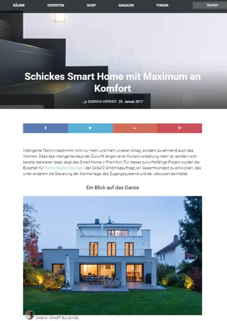 Casaio Presseartikel Smart Home Frankfurt