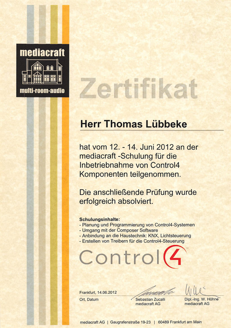 Zertifikat Inbetriebnahme Control4