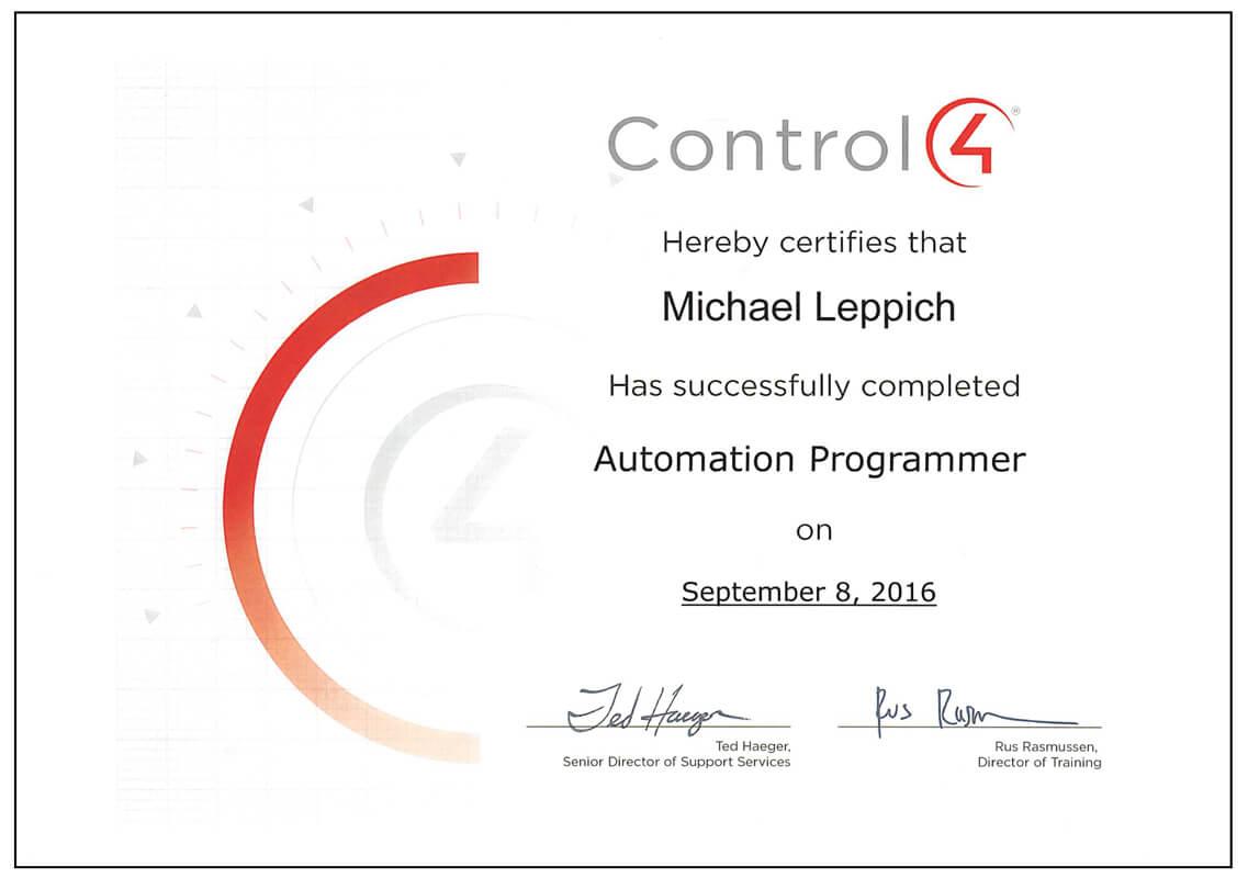 Zertifikat Control4 Programmer
