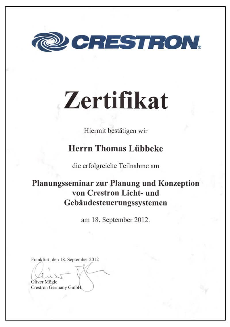 Zertifikat Crestron Planungsseminar