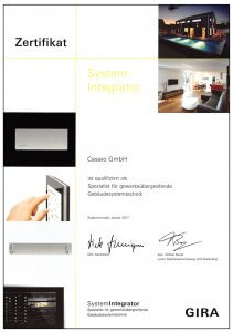 Zertifikat Gira Systemintegrator