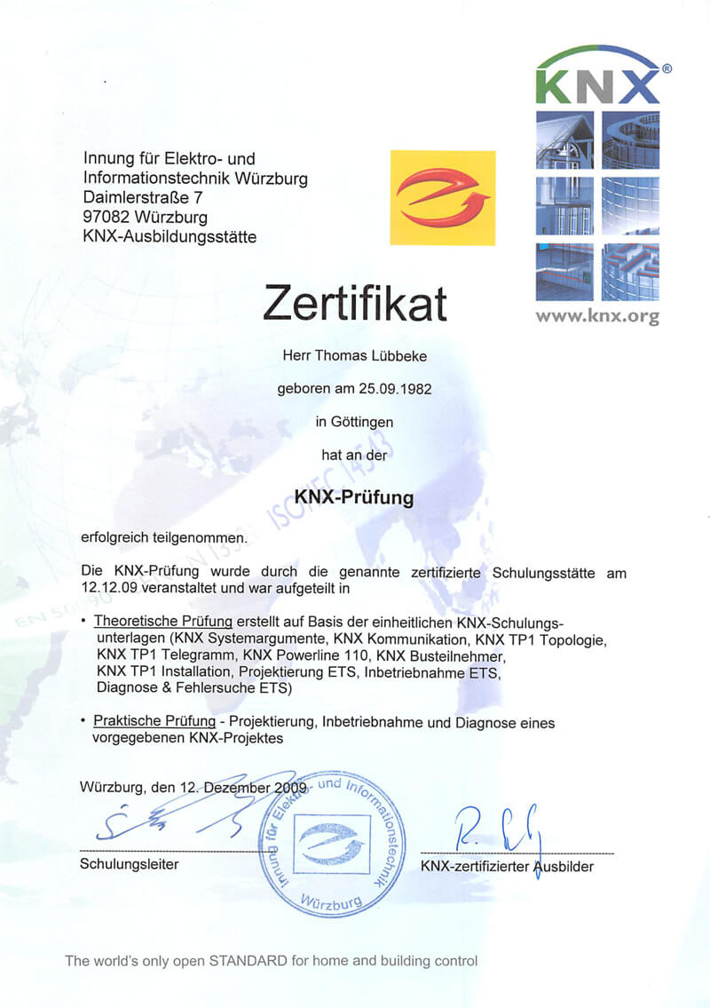Zertifikat KNX Prüfung
