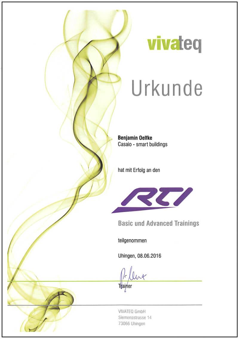 Urkunde RTI Zertifikat